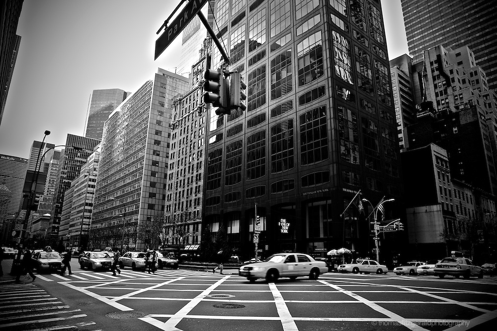 New York Cabs cross at a junction on Park Avenue