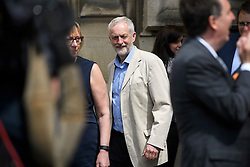 © London News Pictures. 09/05/2016. London, UK. Leader of the Labour Party, JEREMY CORBYN, arrives to greet new Labour MPs Chris Elmore and Gill Furniss outside the Houses of Parliament in London following elections last week. Photo credit: Ben Cawthra/LNP