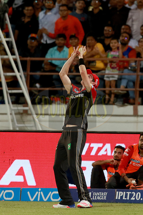 Adam Milne of RCB takes a catch of Brendon McCullum of GL during match 20 of the Vivo 2017 Indian Premier League between the Gujarat Lions and the Royal Challengers Bangalore  held at the Saurashtra Cricket Association Stadium in Rajkot, India on the 18th April 2017<br /> <br /> Photo by Rahul Gulati - Sportzpics - IPL