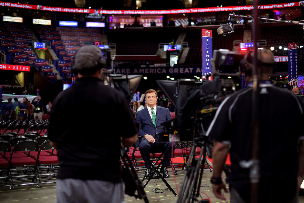 CLEVELAND, OH - JULY  17, 2016: Republican presidential candidate Donald J. Trump's campaign manager Paul Manafort takes part in an interview ahead of the Republican National Convention inside the Quicken Loans Arena in Cleveland, Ohio. CREDIT: Sam Hodgson for The New York Times.