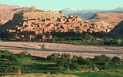 MOROCCO, HIGH ATLAS MOUNTAINS the Kasbah of Ait-Benhaddou, on the Ounila River near Ouarzazate south of Marrakech
