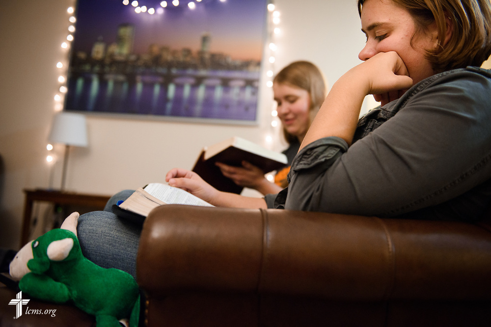 Young Adult Corps participants Rachel McCloskey and Coretta Hedstrom participate in Bible study at their apartment in Boston on Wednesday, Oct. 25, 2017. LCMS Communications/Erik M. Lunsford