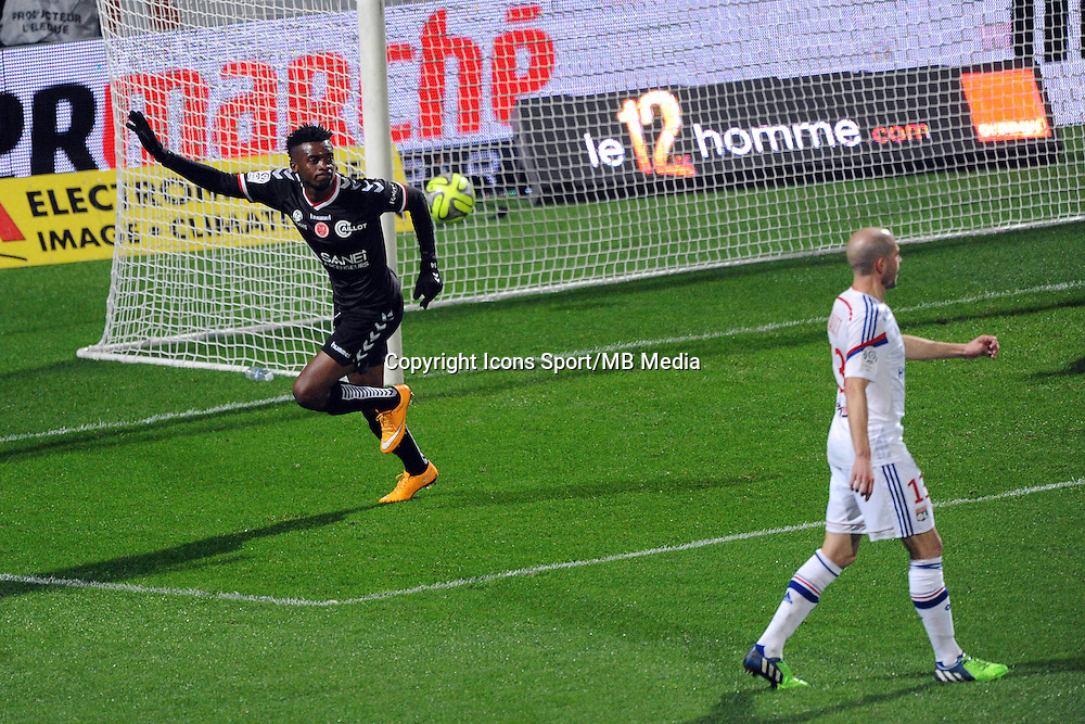 Benjamin MOUKANDJO apres son But  - 04.12.2014 - Lyon / Reims - 16eme journee de Ligue 1  <br />Photo : Jean Paul Thomas / Icon Sport