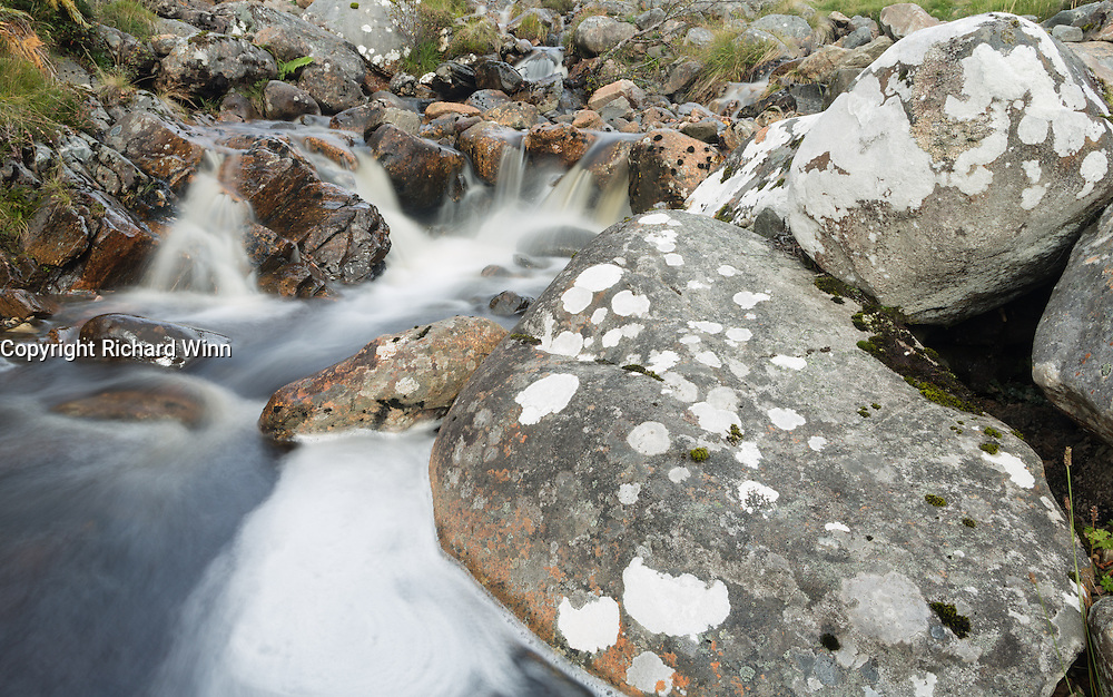 View of some small falls in Strathconon, part of the Scottish Highlands.