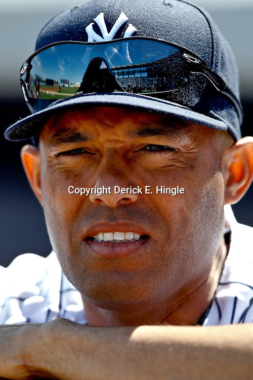 March 4, 2012; Tampa Bay, FL, USA; New York Yankees relief pitcher Mariano Rivera (42) during spring training game against the Philadelphia Phillies at George M. Steinbrenner Field. Mandatory Credit: Derick E. Hingle-US PRESSWIRE