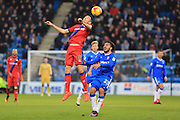 Matty Lund clears under pressure from Bradley Dack during the EFL Sky Bet League 1 match between Gillingham and Rochdale at the MEMS Priestfield Stadium, Gillingham, England on 26 November 2016. Photo by Daniel Youngs.