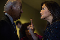 ROCKVILLE, MD - MARCH 13:  Vice President Joe Biden speaks to Mariska Hargitay, actress from Law & Order and advocate, about specifics concerning  reducing domestic violence homicides, back stage before he speaks to an audience of lawmakers, women against violence advocates, and constituents concerning reducing domestic violence homicides, in Rockville, Maryland, on Wednesday, March 13, 2013. (Photo by Melina Mara/The Washington Post)