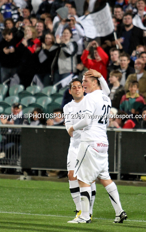 Chris Wood celebrates his goal with Leo Bertos. ASB International Series, All Whites v Honduras, North Harbour Stadium Albany, Saturday 9th October 2010. Photo: John Cowpland / photosport.co.nz