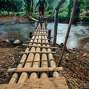 Andrew Whiteford rides over a beat up bamboo bridge  the jungle near Chiang Dao, Thailand where a flood washed out the main auto brige.
