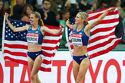 London, August 11 2017 . Courtney Frerichs, USA, (silver) and Emma Coburn, USA, (gold) celebrate their US one-two in the women's 3000m steeplechase final on day eight of the IAAF London 2017 world Championships at the London Stadium. © Paul Davey.