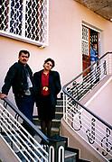 Chaba Fadela and Cheb Sahraoui outside Tlemcen studio