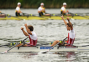 Poznan, POLAND.  2006, FISA, Rowing World Cup, DEN LM2X bow Rads RASMUSSEN and Rasmus QUIST, celebrate victory in the final on the  'Malta Regatta course;  Poznan POLAND, Sat. 17.06.2006. © Peter Spurrier   ....[Mandatory Credit Peter Spurrier/ Intersport Images] Rowing Course:Malta Rowing Course, Poznan, POLAND