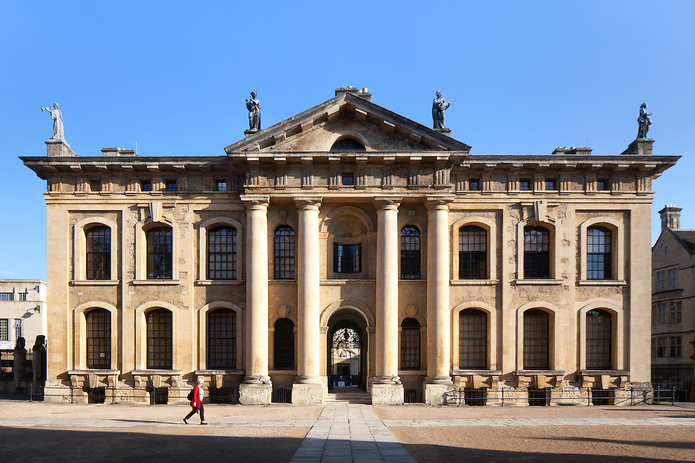 The Clarendon Building, Oxford, Oxfordshire, UK. Built by Nicholas Hawksmoor in 1712-13. South Elevation.