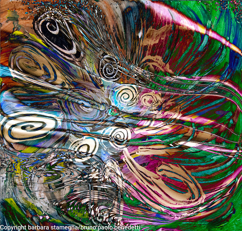 fluid energetic flow abstract art multicolored image in bright colors with concentric dynamic shapes and curls on mottled background