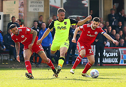 Kane Wilson of Exeter City takes on Ben Richards-Everton and Seamus Conneely of Accrington Stanley - Mandatory by-line: Robbie Stephenson/JMP - 14/04/2018 - FOOTBALL - Wham Stadium - Accrington, England - Accrington Stanley v Exeter City - Sky Bet League Two