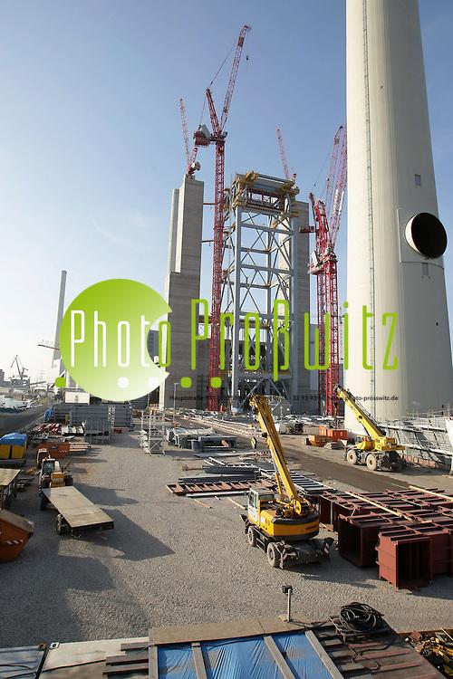 Mannheim. Groflkraftwerk Mannheim (GKM) Groflbaustelle eines neuen Kraftwerks. Ein Kohlekraftwerk. Block 9<br /> Bild: Markus Proflwitz / masterpress /