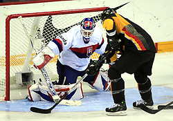 Goalkeeper Jan Lasak and John Tripp of Germany at ice-hockey match Germany (played in old replika jerseys from year 1946) vs Slovakia at Preliminary Round (group C) of IIHF WC 2008 in Halifax, on May 05, 2008 in Metro Center, Halifax, Nova Scotia, Canada. Germany won 4:2. (Photo by Vid Ponikvar / Sportal Images)