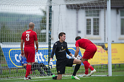 LLANELLI, WALES - Saturday, September 15, 2012: Llanelli's goalkeeper David Richards looks dejected as Newtown score the opening goal during the Welsh Premier League match at Stebonheath Park. (Pic by David Rawcliffe/Propaganda)