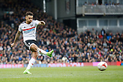 Fulham defender Ryan Fredericks (2) has a shot on goal during the EFL Sky Bet Championship match between Fulham and Wolverhampton Wanderers at Craven Cottage, London, England on 18 March 2017. Photo by Andy Walter.
