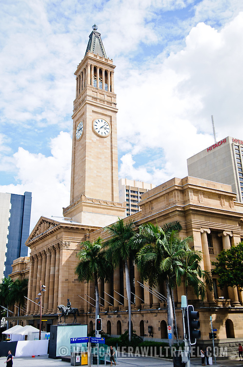 Tower of Brisbane City Hall and city skyline