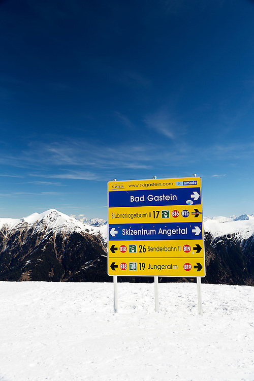 A directional sign for skiers above the resort of Bad Gastein. Bad Gastein offers extensive skiing and is also famous for its health spas