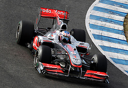 JEREZ DE LA FRONTERA, SPAIN - Thursday, February 11, 2010: Jenson Button (McLaren) during testing at the Circuito de Jerez. (Pic by Juergen Tap/Propaganda/Hoch Zwei)