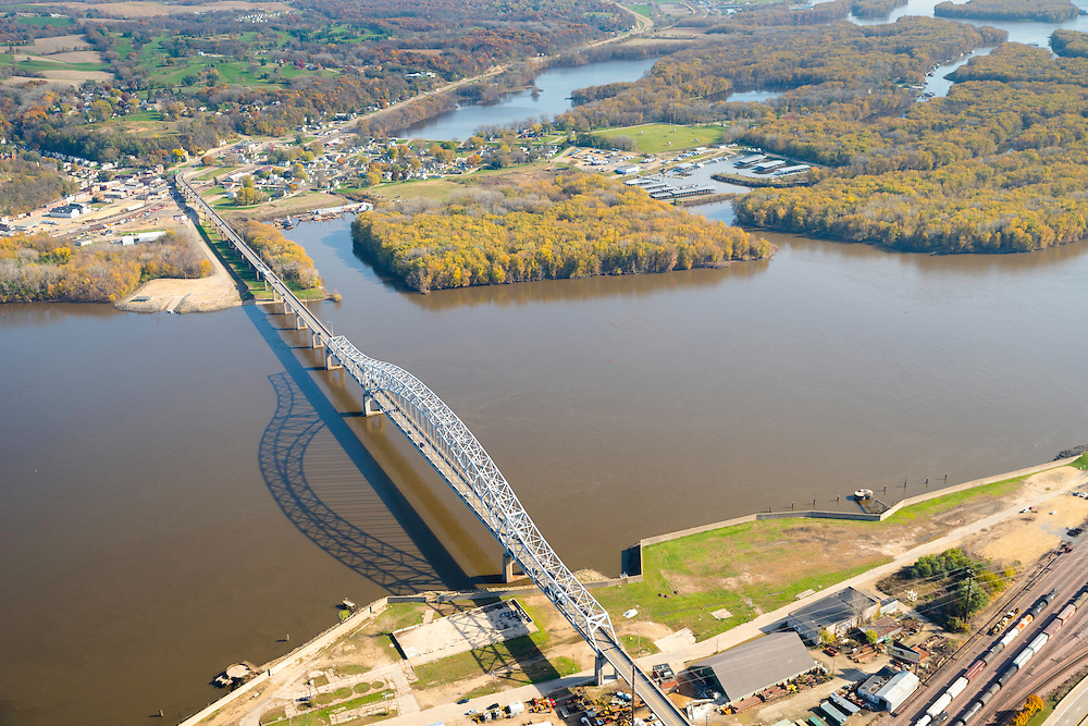 Aerial view of Dubuque, Iowa and the Mississippi River,  and the Julien Dubuque Bridge to East Dubuque, Illinois.