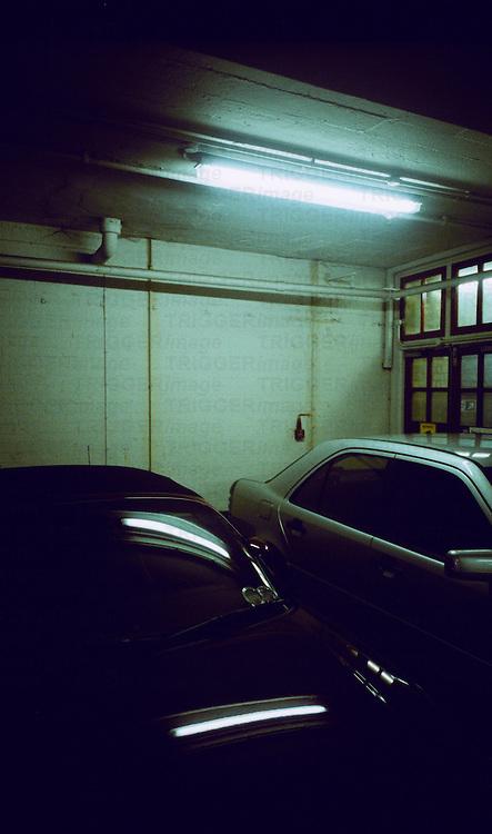 A dark underground carpark