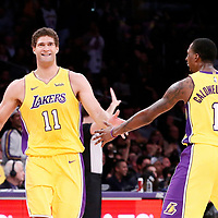 09 January 2018: Los Angeles Lakers center Brook Lopez (11) reacts with Los Angeles Lakers guard Kentavious Caldwell-Pope (1) during the LA Lakers 99-86 victory over the Sacramento Kings, at the Staples Center, Los Angeles, California, USA.