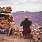Market stall outside the mines of Cerro Rico, Potosi, Bolivia. Potosi is one of the highest cities in the world at 4,090 metres (13,420 ft), the remote mountain behind it was a massive silver mine, discovered in 1545 and at it's peak an estimated 85% of the silver produced in the central Andes came from Cerro Rico. As a result of mining the city of Potosí became one of the largest cities in the New World.