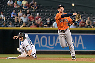 PHOENIX, AZ - AUGUST 15:  Alex Bregman #2 of the Houston Astros turns the double over over the sliding A.J. Pollock #11 of the Arizona Diamondbacks in the seventh inning at Chase Field on August 15, 2017 in Phoenix, Arizona.  (Photo by Jennifer Stewart/Getty Images)