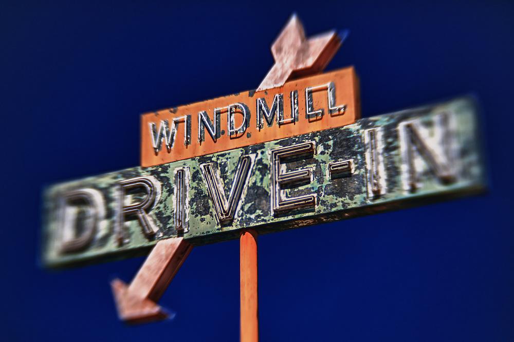 Windmill Drive Inn Sign - Kingsburg, CA - Highway 99 - HDR - Lensbaby