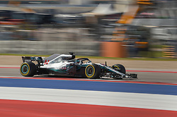 October 21, 2018 - Austin, TX, U.S. - AUSTIN, TX - OCTOBER 21: Mercedes driver Lewis Hamilton (44) of Great Britain races toward the chicane during the F1 United States Grand Prix on October 21, 2018, at Circuit of the Americas in Austin, TX. (Photo by Ken Murray/Icon Sportswire) (Credit Image: © Ken Murray/Icon SMI via ZUMA Press)