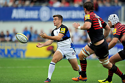 Bath fly half George Ford passes the ball - Photo mandatory by-line: Patrick Khachfe/JMP - Tel: Mobile: 07966 386802 - 22/09/2013 - SPORT - RUGBY UNION - Allianz Park, London- Saracens v Bath Rugby - Aviva Premiership.