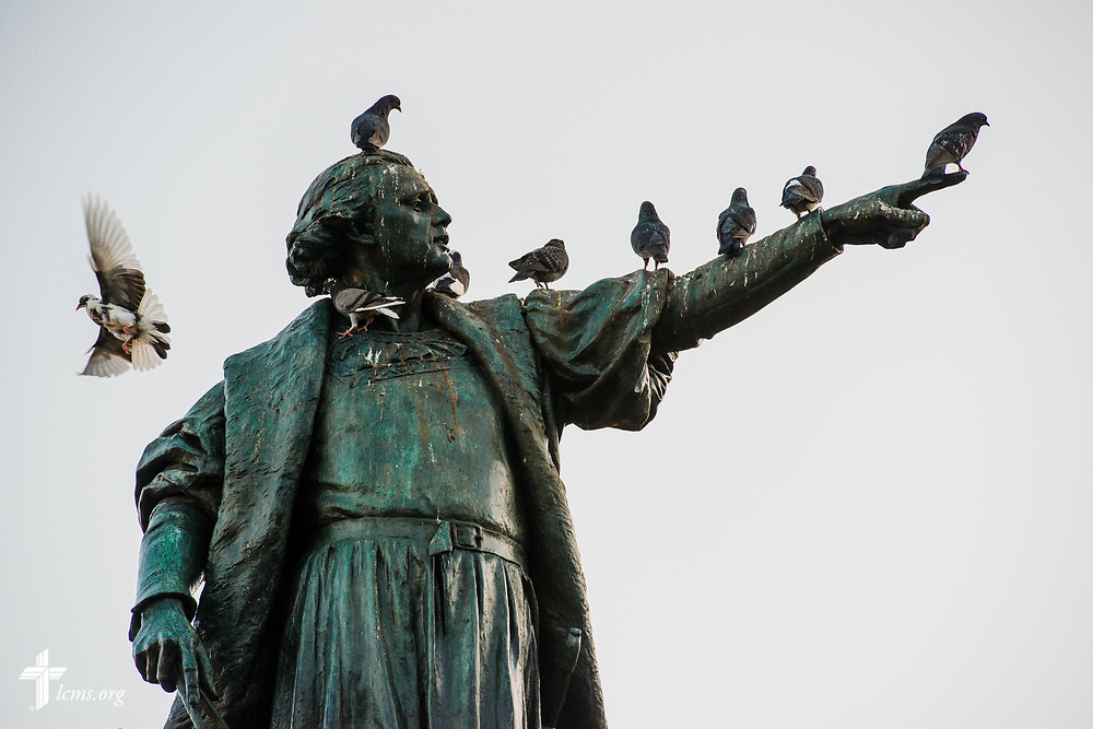 Birds alight on a statue in the colonial zone of Santo Domingo, Dominican Republic, on Sunday, March 19, 2017. LCMS Communications/Erik M. Lunsford