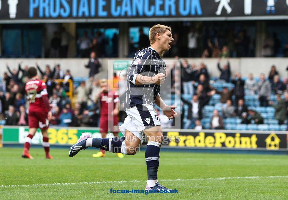Picture by Daniel Chesterton/Focus Images Ltd +44 7966 018899<br /> 14/09/2013<br /> Martyn Waghorn of Millwall celebrates after scoring his side's first goal during the Sky Bet Championship match at The Den, London.