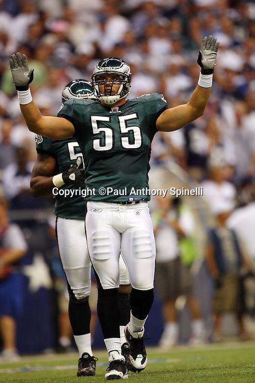 IRVING, TX - SEPTEMBER 15:  Linebacker Stewart Bradley #55 of the Philadelphia Eagles raises his arms in celebration after a defensive stand during the game against the Dallas Cowboys at Texas Stadium on September 15, 2008 in Irving, Texas. The Cowboys defeated the Eagles 41-37. ©Paul Anthony Spinelli *** Local Caption *** Stewart Bradley