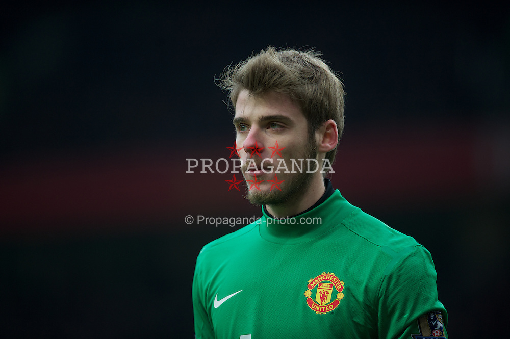 MANCHESTER, ENGLAND - Saturday, February 11, 2012: Manchester United's goalkeeper David de Gea in action against Liverpool during the Premiership match at Old Trafford. (Pic by David Rawcliffe/Propaganda)