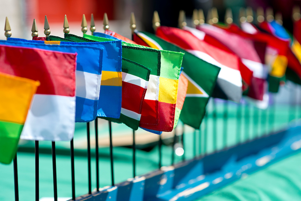 Little flags representing all the countries are displayed at a booth on Court Street during the International Street Fair Saturday, April 20, 2013. The International Street fair was held from 11 a.m. to 5 p.m.