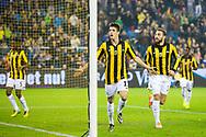 ARNHEM, Vitesse - NAC Breda, voetbal Eredivisie, seizoen 2013-2014, 15-12-2013, Stadion Gelredome, Vitesse speler Lucas Piazon (M) heeft de 2-1 gescoord, Vitesse speler Guram Kashia (2R).