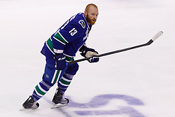 June 4, 2011; Vancouver, BC, CANADA; Vancouver Canucks left wing Raffi Torres (13) warms up before game two of the 2011 Stanley Cup Finals against the Boston Bruins at Rogers Arena. Vancouver defeated Boston 3-2 in overtime. Mandatory Credit: Jason O. Watson / US PRESSWIRE