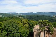 Schloss Auerbach, Burgruine, Blick auf Odenwald, Bensheim, Bergstraße, Hessen, Deutschland | Auerbach Castle, castle ruins, overlooking Odenwald, Bensheim, Bergstrasse, Hesse, Germany