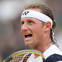 01 June 2007: Argentinian player David Nalbandian complains after a foul during the French Tennis Open third round match won by David Nalbandian 7-6, 5-7, 6-4, 7-6, at Roland Garros, in Paris, France.