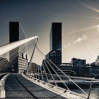 "Known as ""Zubizuri"" (white bridge in Basque), is a work of Santiago Calatrava and crosses the Ria (estuary) de Bilbao"