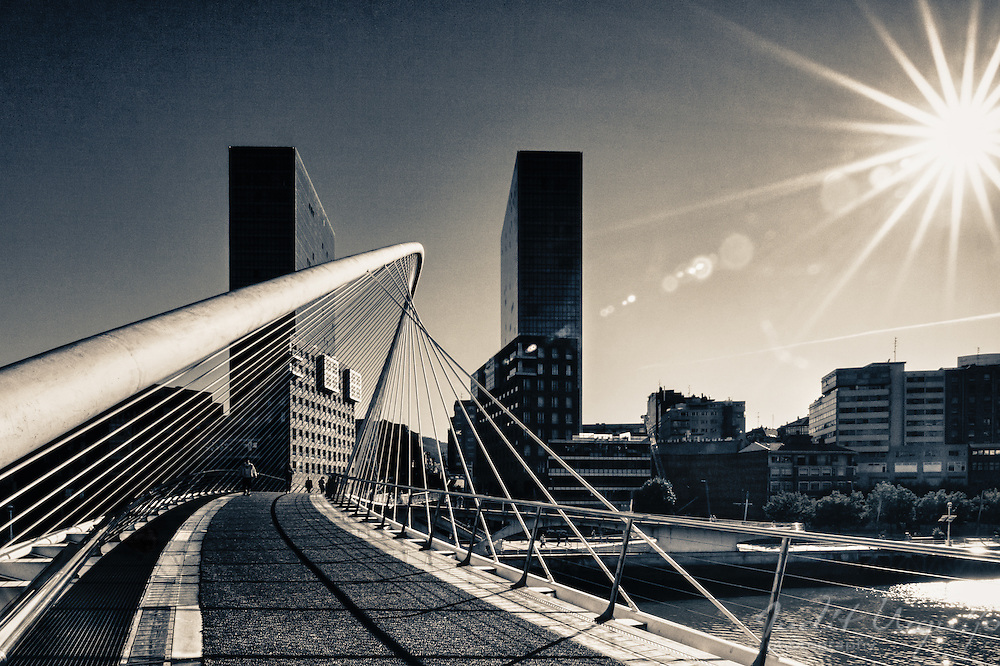 "Known as ""Zubizuri"" (white bridge in Basque), is a work of Santiago Calatrava and crosses the Ria (estuary) de Bilbao"