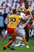 James Graham of England gets tackled by Luke Page of Papua New Guinea during the Rugby League World Cup Quarter-Final match between England and  Papua New Guinea at Melbourne Rectangular Stadium, Melbourne, Australia on 19 November 2017. Photo by Mark  Witte.
