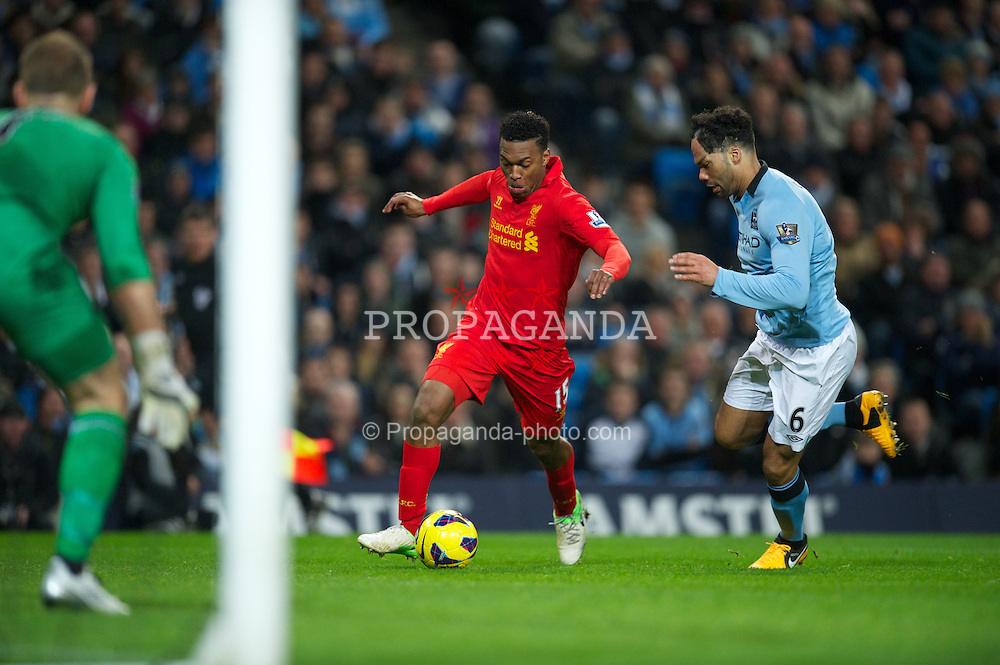 MANCHESTER, ENGLAND - Sunday, February 3, 2013: Liverpool's Daniel Sturridge in action against Manchester City during the Premiership match at the City of Manchester Stadium. (Pic by David Rawcliffe/Propaganda)