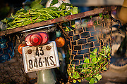 Motorbike carrying vegetables in baskets (Vietnam)