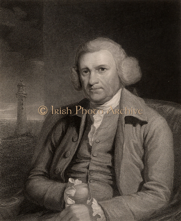 John Smeaton (1724-1792) English civil engineer born at Austhorpe near Leeds, Yorkshire.  In the background of the portrait is the third lighthouse on the Eddystone Rock in the English Channel off  Plymouth, Devon, which he constructed between 1757 and 1759. He also carried out researches into the mechanics of windmills and waterwheels, and made improvements to the Newcomen steam engine. From 'The Gallery of Portraits', Vol II, by Charles Knight (London, 1833). Stipple engraving.
