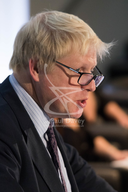 City Hall, London, November 27th 2015. Four hundred school and college leaders together with international experts and leaders in education join forces at City Hall for the third annual education conference organised by the Mayor of London. PICTURED: Mayor of London Boris Johnson addresses the afternoon plenary session.